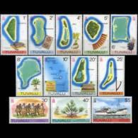 TUVALU 1977 - Scott# 58-70 Maps Unwmk Set Of 12 MNH - Tuvalu