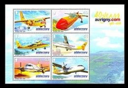 Alderney 2008 Mih. 339/44 (Bl.22) Aviation. Aurigny Air Services. Planes MNH ** - Alderney