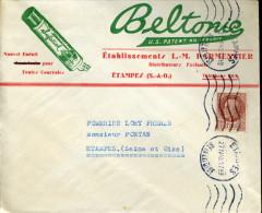 Timbre Pétain 1,50F Brun Type Bersier N°517 ETAMPES SEINE ET OISE 27/4/1942 Flamme Muette Superbe Illustration Beltonic - Covers & Documents