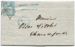 1511 - Strubel 10 Rp. Hellgrünlichblau Auf Faltbrief Von NEUCHATEL Nach Chaux-de-Fonds 1856 - 1854-1862 Helvetia (Ungezähnt)