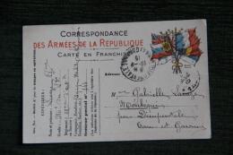 Guerre 1914 - 1918 : Correspondance Des Armées De La République, Carte En Franchise. - Guerra 1914-18