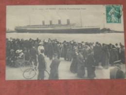 """LE HAVRE   1910  SORTIE DU TRANSATLANTIQUE  """" LE FRANCE """"  EDIT  CIRC OUI - Autres"""