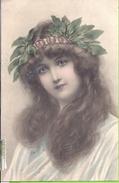 --   ILLUSTRATEUR -- M. M.  VIENNE -- JEUNE FEMME  - CARTE N° 228 -- COLORISEE  AVEC REHAUT OR DANS LA COURONNE--  1906 - Vienne