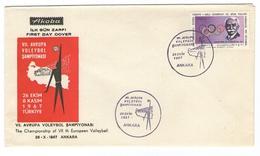 TURKEY EUROPEAN CHAMPIONSHIP VOLLEYBALL VOLEYBOL ANKARA 1967 SPORT - Storia Postale