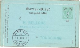 LACX- AUTRICHE  ENTIER POSTAL CL TEXTE ROUMENE REPIQUAGE H. BEULQUE TOURCOING 31/12/1886 - Interi Postali