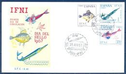 IFNI , ED. 230 / 232 , SOBRE DE PRIMER DIA , DIA DEL SELLO 1967 , PECES - Ifni