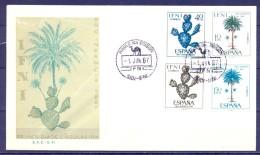 IFNI , ED. 225 / 228 , SOBRE DE PRIMER DIA , PRO INFANCIA 1967 , CACTUS , PALMERAS - Ifni