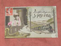 MONTLIGNON  / ARDT  PONTOISE    1910   FANTAISIE THEME TRAIN EN GARE   EDIT  CIRC OUI - Tarjetas De Fantasía