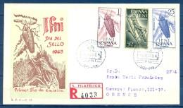 IFNI , ED. 200 / 202 , SOBRE DE PRIMER DIA , DIA DEL SELLO 1963 , CIRCULADO A ORENSE , LLEGADA - Ifni