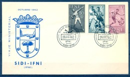 IFNI , ED. 156 / 158 , SOBRE CONMEMORATIVO DEL VIAJE MINISTERIAL DE OCTUBRE DE 1962 - Ifni