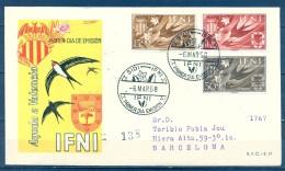 IFNI , ED. 142 / 144 , SOBRE DE PRIMER DIA , AYUDA A VALENCIA , CIRCULADO A BARCELONA , LLEGADA - Ifni