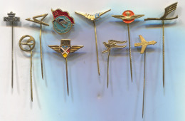 Airplane / Airlines, Plane Flug, Aviation -  Vintage Pin  Badge, Lot 10 Pieces - Pin's