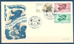 IFNI , ED. 125 / 127 , SOBRE DE PRIMER DIA , DIA DEL SELLO 1955 - Ifni