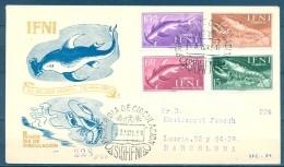 IFNI , ED. 118 / 121 , SOBRE DE PRIMER DIA , DIA DEL SELLO 1954 , CIRCULADO A BARCELONA , LLEGADA - Ifni