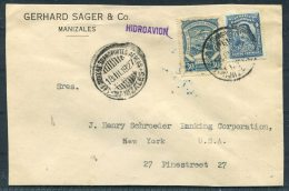 1927 Colombia Gerhard Sager & Co. Manizales SCADTA HIDROAVION Cover - Schroder Banking Corp, New York, USA - Colombia