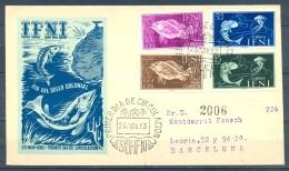 IFNI , ED. 118 / 121 , SOBRE DE PRIMER DIA , DIA DEL SELLO 1953 , CIRCULADO A BARCELONA , LLEGADA - Ifni