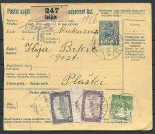 1918 Austria Serbia Parcelcard Indjija - Plaski Hungary Croatia - Brieven En Documenten