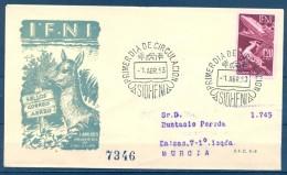 IFNI , ED. 90 , SOBRE DE PRIMER DIA  , CIRCULADO A MURCIA , LLEGADA - Ifni