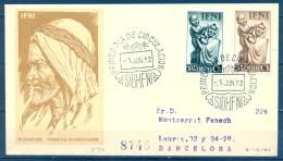 IFNI , ED. 79 / 80  , SOBRE DE PRIMER DIA  , PRO INDÍGENAS DE 1952 , CIRCULADO A BARCELONA , LLEGADA - Ifni