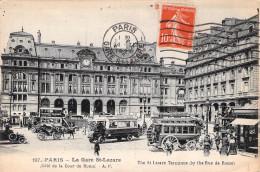 Paris 75 Cpa La Gare Saint Lazare   Carte Animée Circulée Timbrée Cachet Flamme - Paris (08)