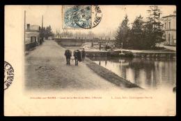51 - CHALONS-SUR-MARNE - CANAL DE LA MARNE AU RHIN - L'ECLUSE - SCENE DE HALAGE AVEC CHEVAUX - Châlons-sur-Marne