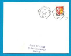 Poste Navale - Hyeres Marine  Ver. Cachet Hexagonal. Indicé 5 De La Main De Pothion - Postmark Collection (Covers)