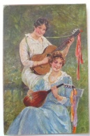 LITHO CHROMO ILLUSTRATEUR Borrmeister Duo Femme Fille Souriante Jouant Guitare Et Mandoline - Borrmeister, R.