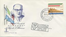 SAN MARINO - FDC  CAPITOLIUM 1965 - VISITA DEL PRESIDENTE SARAGAT - FDC