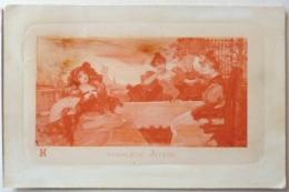 LITHO Bord Relief  CP Fond Couleur Orange  ILLUSTRATEUR HD ? Femmes Fille Terrasse Table 1X Eventail - Borrmeister, R.