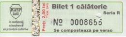 Transportation Ticket Tram Tramway Ticket 1 Travel Iasi Romania - Tram