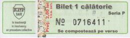 Transportation Ticket Tram Tramway Ticket 1 Travel Iasi Romania - Tramways