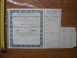 1925 Bond Action EXPOSITION INTERNATIONALE ARTS DECORATIFS INDUSTRIELS MODERNES - Actions & Titres