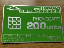 Very  Early British Telecom Card From 1985: 200 Units Green No Notch !... -Nr. 502B  - Good Condition - BT Definitive