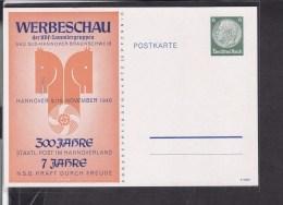 Ganzsache Deutsches Reich Werbeschau Der KDF-Sammlergruppen Hannover 1940 - Allemagne