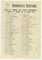 DEMOCRAZIA CRISTIANA LISTA CANDIDATI ELEZIONI AMMINISTRATIVE DEL 10 GIUGNO 1951 - Programs
