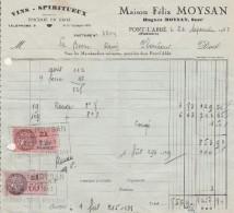 PONT - L'ABBE  ( Finistère )  - Vins Spiritueux - Maison Félix MOYSAN  ( 19,3 Cm X 17,6 Cm ) - 1900 – 1949