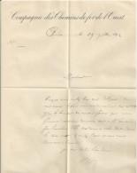 CHARTRES LETTRE ET ENVELOPPE DE LA COMPAGNIE DES CHEMINS DE FER DE L OUEST ANNEE 1892 ENVOYE SAINT GERMAIN DE LA COUDRE - France