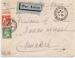LPP13D- FRANCE PAIX 50c AVEC BANDE PUB L'ART VIVANT + PASTEUR 30c SUR LETTRE AVION POUR LE MAROC 5/12/1934 - 1932-39 Paz