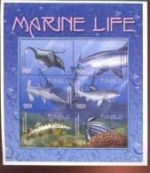 TUVALU   821  MINT NEVER HINGED MINI SHEET OF FISH-MARINE LIFE ; RAY ; SHARKS ; TURTLE - Marine Life