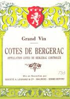 1 Etiquette Ancienne De COTES DE BERGERAC - 73CL - Bergerac