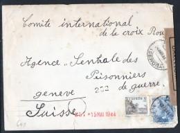 España 1944. Carta De Gerona A Comite Central Cruz Roja Genova. Censura. - Marcas De Censura Nacional