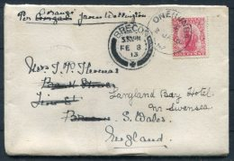 1913 NZ GB Onehunga Cover - Brecon Via Hereford Redirected - Swansea - Covers & Documents