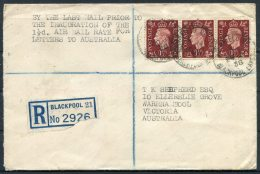 1938 GB - Australia Pair(2) Last/First 'ALL UP' Airmail Covers, Holmfield Rd Blackpool Registered Warrnambool Melbourne - 1902-1951 (Kings)