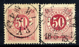 SWEDEN 1872-75  50 öre Perforated 14 In Two Shades, Fine Used.  Michel 25A. - Sweden