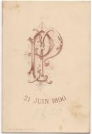 Menu. Monogramme. 21 Juin 1890. Litho. Deligne, La Louvière. - Menus