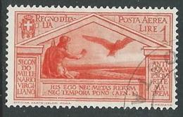 1930 REGNO USATO POSTA AEREA VIRGILIO 1 LIRA - U32-8 - Poste Aérienne
