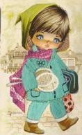 Carte Brodée La Petite Fille Aux Raquettes De Tennis - Brodées