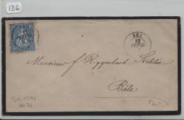 Sitzende Helvetia/Helvétie Assise 31 10c - Von Bex Nach Basel - Lettres & Documents