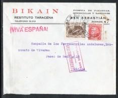 España 1937. Carta De San Sebastian A Malaga. Ferrocarriles. Censura. - Marcas De Censura Nacional