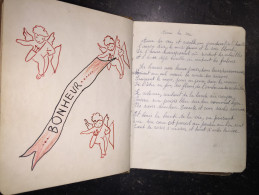 16F - Beau Livre De Poésies Avec Dessins Originaux Maniscrit 1943-4-5-6... RAF, Beau Spirou Original ? A Renard - Autres Collections